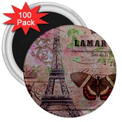 Girly Bee Crown  Butterfly Paris Eiffel Tower Fashion 3  Button Magnet (100 Pack) by chicelegantboutique