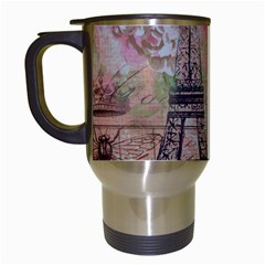 Girly Bee Crown  Butterfly Paris Eiffel Tower Fashion Travel Mug (white) by chicelegantboutique