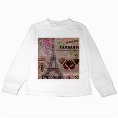 Girly Bee Crown  Butterfly Paris Eiffel Tower Fashion Kids Long Sleeve T Shirt by chicelegantboutique