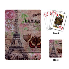 Girly Bee Crown  Butterfly Paris Eiffel Tower Fashion Playing Cards Single Design by chicelegantboutique