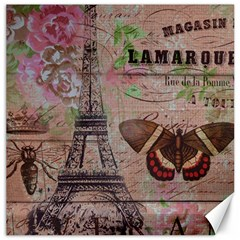 Girly Bee Crown  Butterfly Paris Eiffel Tower Fashion Canvas 16  X 16  (unframed) by chicelegantboutique