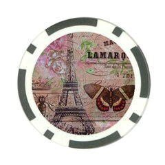 Girly Bee Crown  Butterfly Paris Eiffel Tower Fashion Poker Chip by chicelegantboutique