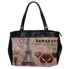 Girly Bee Crown  Butterfly Paris Eiffel Tower Fashion Oversize Office Handbag (two Sides)
