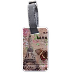 Girly Bee Crown  Butterfly Paris Eiffel Tower Fashion Luggage Tag (two Sides) by chicelegantboutique