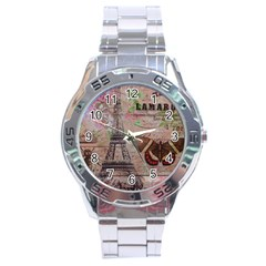 Girly Bee Crown  Butterfly Paris Eiffel Tower Fashion Stainless Steel Watch (men s) by chicelegantboutique