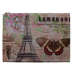 Girly Bee Crown  Butterfly Paris Eiffel Tower Fashion Cosmetic Bag (xxl) by chicelegantboutique