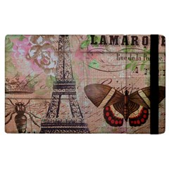 Girly Bee Crown  Butterfly Paris Eiffel Tower Fashion Apple Ipad 2 Flip Case by chicelegantboutique