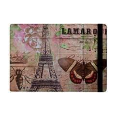 Girly Bee Crown  Butterfly Paris Eiffel Tower Fashion Apple Ipad Mini Flip Case by chicelegantboutique