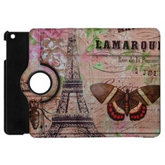 Girly Bee Crown  Butterfly Paris Eiffel Tower Fashion Apple Ipad Mini Flip 360 Case by chicelegantboutique