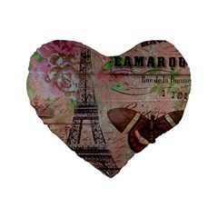Girly Bee Crown  Butterfly Paris Eiffel Tower Fashion 16  Premium Heart Shape Cushion  by chicelegantboutique