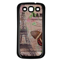 Girly Bee Crown  Butterfly Paris Eiffel Tower Fashion Samsung Galaxy S3 Back Case (black) by chicelegantboutique
