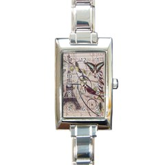 Paris Eiffel Tower Vintage Bird Butterfly French Botanical Art Rectangular Italian Charm Watch by chicelegantboutique