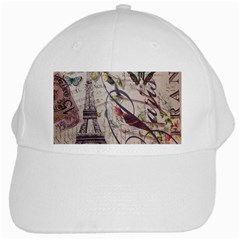 Paris Eiffel Tower Vintage Bird Butterfly French Botanical Art White Baseball Cap by chicelegantboutique