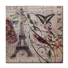 Paris Eiffel Tower Vintage Bird Butterfly French Botanical Art Ceramic Tile by chicelegantboutique