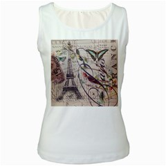 Paris Eiffel Tower Vintage Bird Butterfly French Botanical Art Womens  Tank Top (white) by chicelegantboutique