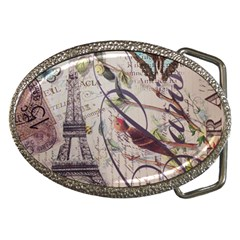 Paris Eiffel Tower Vintage Bird Butterfly French Botanical Art Belt Buckle (oval) by chicelegantboutique