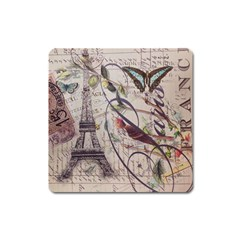 Paris Eiffel Tower Vintage Bird Butterfly French Botanical Art Magnet (square) by chicelegantboutique