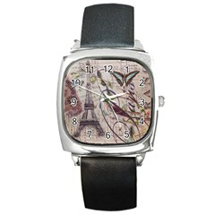 Paris Eiffel Tower Vintage Bird Butterfly French Botanical Art Square Leather Watch by chicelegantboutique