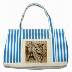 Paris Eiffel Tower Vintage Bird Butterfly French Botanical Art Blue Striped Tote Bag by chicelegantboutique