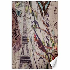 Paris Eiffel Tower Vintage Bird Butterfly French Botanical Art Canvas 12  X 18  (unframed) by chicelegantboutique