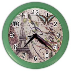 Paris Eiffel Tower Vintage Bird Butterfly French Botanical Art Wall Clock (color) by chicelegantboutique
