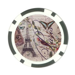 Paris Eiffel Tower Vintage Bird Butterfly French Botanical Art Poker Chip by chicelegantboutique
