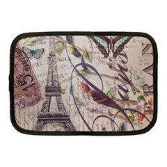 Paris Eiffel Tower Vintage Bird Butterfly French Botanical Art Netbook Case (medium) by chicelegantboutique