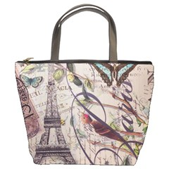 Paris Eiffel Tower Vintage Bird Butterfly French Botanical Art Bucket Bag by chicelegantboutique