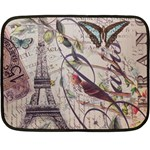 Paris Eiffel Tower Vintage Bird Butterfly French Botanical Art Mini Fleece Blanket (Two Sided) 35 x27 Blanket Front