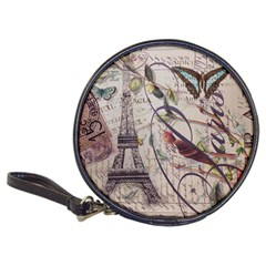 Paris Eiffel Tower Vintage Bird Butterfly French Botanical Art Cd Wallet by chicelegantboutique