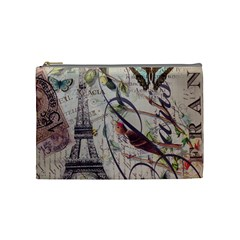 Paris Eiffel Tower Vintage Bird Butterfly French Botanical Art Cosmetic Bag (medium) by chicelegantboutique