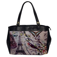 Paris Eiffel Tower Vintage Bird Butterfly French Botanical Art Oversize Office Handbag (one Side) by chicelegantboutique
