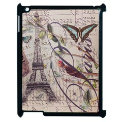 Paris Eiffel Tower Vintage Bird Butterfly French Botanical Art Apple Ipad 2 Case (black) by chicelegantboutique