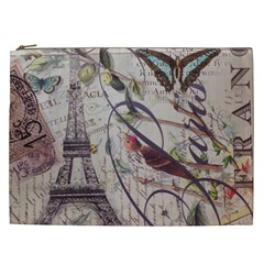 Paris Eiffel Tower Vintage Bird Butterfly French Botanical Art Cosmetic Bag (xxl) by chicelegantboutique