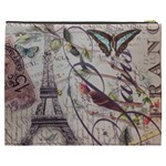 Paris Eiffel Tower Vintage Bird Butterfly French Botanical Art Cosmetic Bag (XXXL) Back