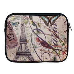 Paris Eiffel Tower Vintage Bird Butterfly French Botanical Art Apple Ipad 2/3/4 Zipper Case by chicelegantboutique