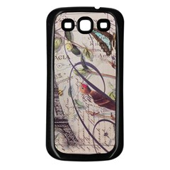 Paris Eiffel Tower Vintage Bird Butterfly French Botanical Art Samsung Galaxy S3 Back Case (black) by chicelegantboutique