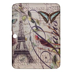 Paris Eiffel Tower Vintage Bird Butterfly French Botanical Art Samsung Galaxy Tab 3 (10 1 ) P5200 Hardshell Case  by chicelegantboutique