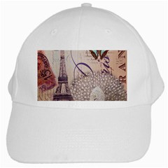 White Peacock Paris Eiffel Tower Vintage Bird Butterfly French Botanical Art White Baseball Cap by chicelegantboutique