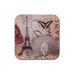White Peacock Paris Eiffel Tower Vintage Bird Butterfly French Botanical Art Drink Coaster (square) by chicelegantboutique