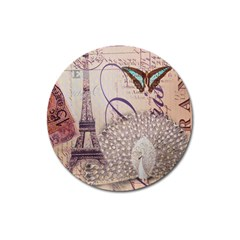 White Peacock Paris Eiffel Tower Vintage Bird Butterfly French Botanical Art Magnet 3  (round) by chicelegantboutique