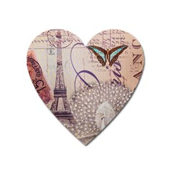 White Peacock Paris Eiffel Tower Vintage Bird Butterfly French Botanical Art Magnet (heart) by chicelegantboutique