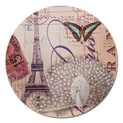 White Peacock Paris Eiffel Tower Vintage Bird Butterfly French Botanical Art Magnet 5  (round) by chicelegantboutique