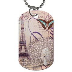 White Peacock Paris Eiffel Tower Vintage Bird Butterfly French Botanical Art Dog Tag (one Sided) by chicelegantboutique