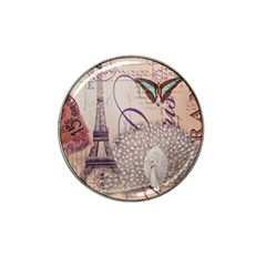 White Peacock Paris Eiffel Tower Vintage Bird Butterfly French Botanical Art Golf Ball Marker (for Hat Clip) by chicelegantboutique