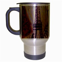 White Peacock Paris Eiffel Tower Vintage Bird Butterfly French Botanical Art Travel Mug (silver Gray) by chicelegantboutique