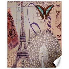 White Peacock Paris Eiffel Tower Vintage Bird Butterfly French Botanical Art Canvas 16  X 20  (unframed) by chicelegantboutique
