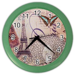 White Peacock Paris Eiffel Tower Vintage Bird Butterfly French Botanical Art Wall Clock (color) by chicelegantboutique