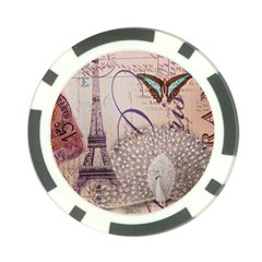 White Peacock Paris Eiffel Tower Vintage Bird Butterfly French Botanical Art Poker Chip by chicelegantboutique
