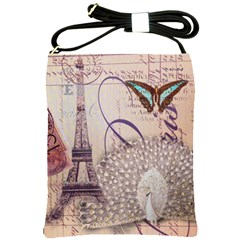 White Peacock Paris Eiffel Tower Vintage Bird Butterfly French Botanical Art Shoulder Sling Bag by chicelegantboutique